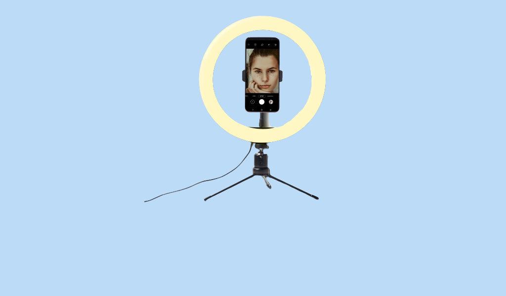 Korting Selfie ringlamp met statief