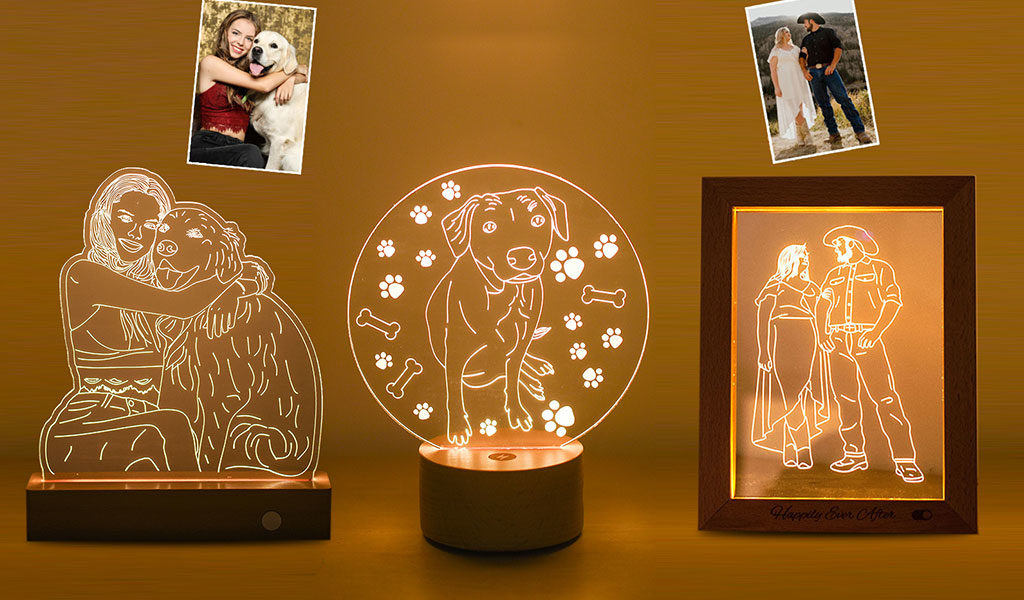 Korting 3D lamp of fotoframe met LED