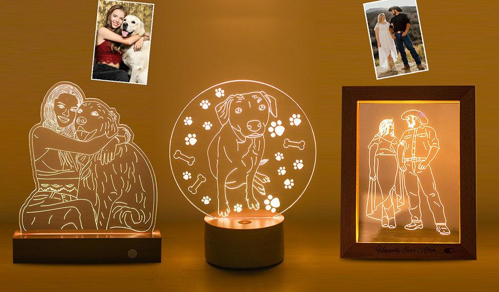 3D lamp of fotoframe met LED